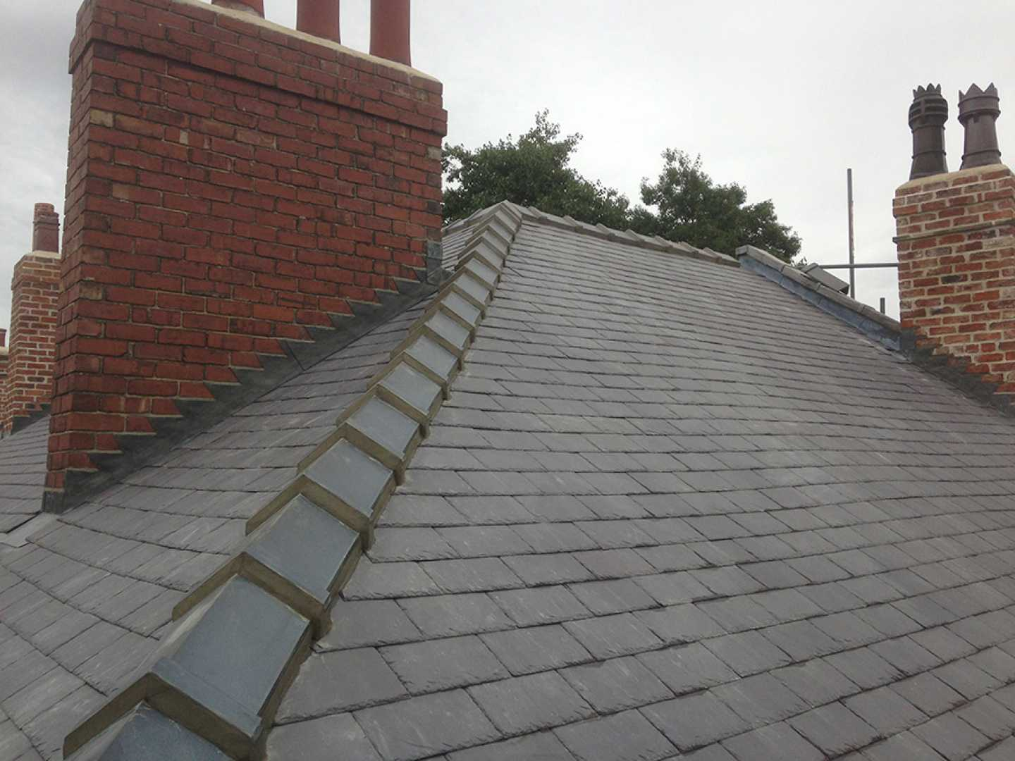 Slate re-roof with new Welsh slate